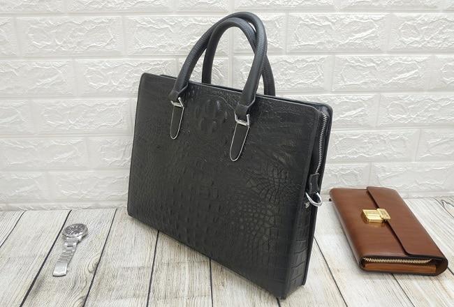 Túi da nam xịn màu đen