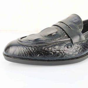 Giày lười da bò dập vân cá sấu